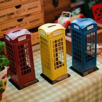Christmas Vintage London Street telephone zakka Iron craft Money box home decoration novelty households gadget creative gift