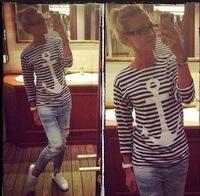 2014 New Spring Summer Women  Fashion T Shirt Hot Selling Anchor Print Long Striped T-shirt Rock Shirt  Tops 8650