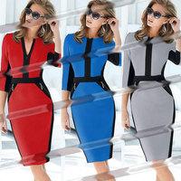 Summer Dress 2014 European new fashion long-sleeved dress OL pencil zipper decorative stitching multiple casual dress