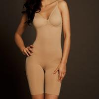 Fashion plus size women's seamless spaghetti strap bodysuit strap breeched shorts shapers