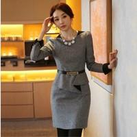 2014 fashion autumn and winter woolen dress faux two piece set dress slim long-sleeve office dress knee length size plus