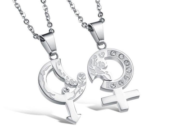 New Fashion Romentic Women Men Necklace Sautoir Arrow Of Cupid Titanium Steel Chain Couple Lovers Pendant