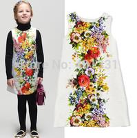 High End 2014 autumn girl print dress brand children princess floral dress,designer kids dobby dress girls' floral dresses,2-12Y