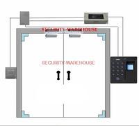 Glass door Access Control System: 180kg Double Door Magnetic Lock + D1 Fingerprint + U-clip