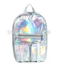 New 2014 Promotion Silver Hologram Laser Backpack men Bag leather bag Multicolor Silver Business Zipper Backpack women(China (Mainland))