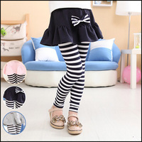 2014 wholesale children clothing, new arrival girls Autumn stripe leggings with solid color skirt , girls pants free shipping