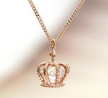 Crown cross pendant rose gold necklace/korea luxury designer fashion necklaces womens jewellery wholesale/colares/collier/bijoux