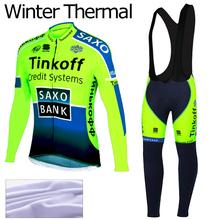 Saxo Bank Tinkoff 2014 Thermal Fleece Cycling Jersey long Sleeve and Bib pants Kit Fitness Clothes Cycling Tight Ropa Ciclismo(China (Mainland))