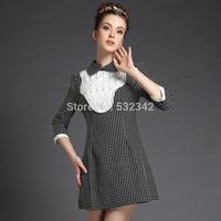 2014 winter and spring dot ruffles stitching loose dress peter pan collar three quarter sleeve plus size mini dress
