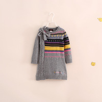 2014 newest France brand design autumn and winter children clothing girls sweaters long fashion 3-10T princess 2 colors bow