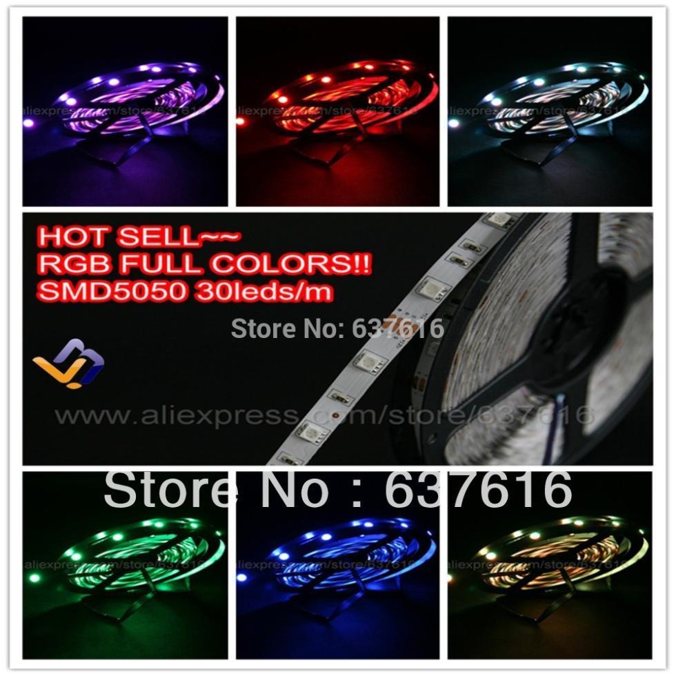 5rolls/lot 25m RGB led strip light SMD5050 5M/roll 12V waterproof Clubs/Bars/KTV christmas colorful decoration lighting(China (Mainland))