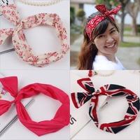 Twisted Headband Bandana Turban Headband Women's Head-wrap Dolly Bow Wire Headband Flexible Rabbit Ears