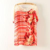 XS-4XL 2Color Novelty Women Print Lace Tee T-shirt Chiffon Blouse Tunic Hook flower Plus Big Size XXL XXXL XXXXL 2014 New Summer