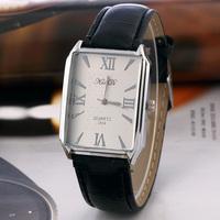 2014 New Casual Watch Vintage design Classic rectangular dial quartz watch Women Men ladies leather dress watch