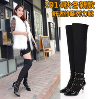 2014 Brand New Autumn Winter Women genuine leather ankle boots flashion boots ladies Rivet shoes two style eur 33-43 j3472