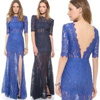 Floral Lace Dresses Backless Long Dress Women Sexy Design Clothing Evening Party Gown Dress Plus Size vestidos de festa P898