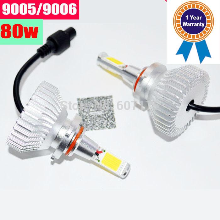 high power COB car LED headlight kit 9005 auto led kit 9005 replacement hid xenon kit headlamp hb3 hb4 white free shipping(China (Mainland))