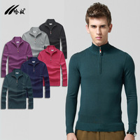 Casual Zipper Collar Pullovers  Winter Men's Sweaters Solid Color Sweater Male Thick Sweater  Gray Black Size S-XXL