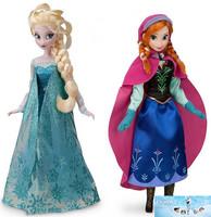 Free shipping!(2pcs=1pcs Anna 1pcs Elsa)/lot 2014 hot sell frozen 29cm frozen Anna and frozen Elsa classic good girl doll