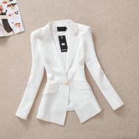 Blaser Femininos 2014 Winter Autumn Womens Blazers Slim A buckle Small Suit Jacket White Blazer Coat