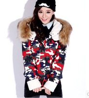 2013 winter women's cotton-padded jacket fur collar thickening berber fleece short design Camouflage wadded jacket outerwear