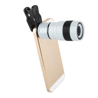 New Universal Optical 8X Zoom Clip Camera Lens Mobile Phone Smartphone Samsung Galaxy S5 Note 3 For Iphone 4 4s 5 5s 5c 6 White