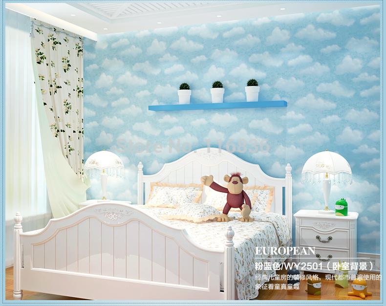 Online kopen wholesale blauwe hemel behang uit china blauwe hemel behang groothandel - Blauwe en grijze jongens kamer ...