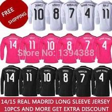 PINK RONALDO JAMES Real Madrid Long Sleeve Soccer Jersey 2015 BALE KROOS Real Madrid Long Sleeve Jersey 14 15 Football Shirt Kit(China (Mainland))