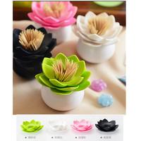 1pc/lot Fashion 4 Colors Lotus Home Decor Toothpick Cotton Swab Holder Storage Box Pick Toothpick case DP870661