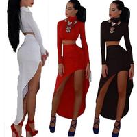 2014 New Fashion Sexy 2 Pcs Bandage Dress Women High Street Casual Dress Ladies Black White Red Party Club Long Sleeve Vestidos