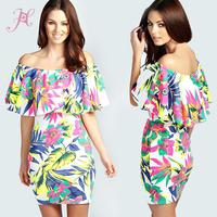 2014 High Fashion Women Vestido Desigual Dress Graceful Tropical Pattern Frill Top Bodycon Print Dress