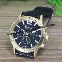 100pcs/lot,Big Gold Dial GENEVA Brand Watches Women Momen Leather Dress Wristwatches Casual Analog Quartz Watches Free Shipping