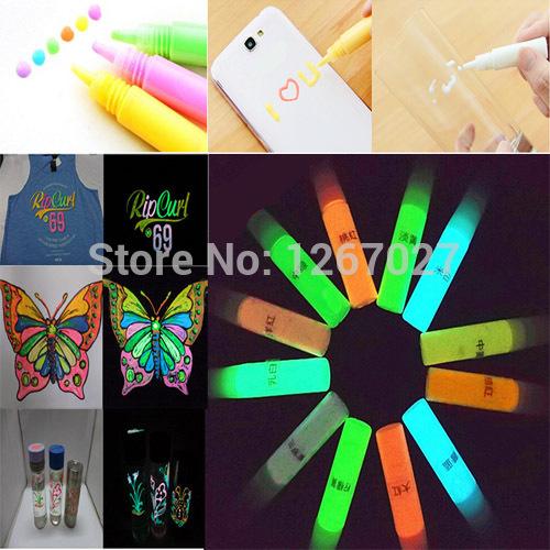 Luminous GLOW in the DARK Paint Fluorescent UV Neon Acrylic Paints Pigment Fabric GDP GIP Textile tintas carilicas 12 color set(China (Mainland))