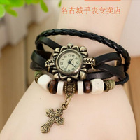 DHL free shipping to US  60pcs/lot Hot men leather watch cross pendant weave bracelet watch vintage retro men watch