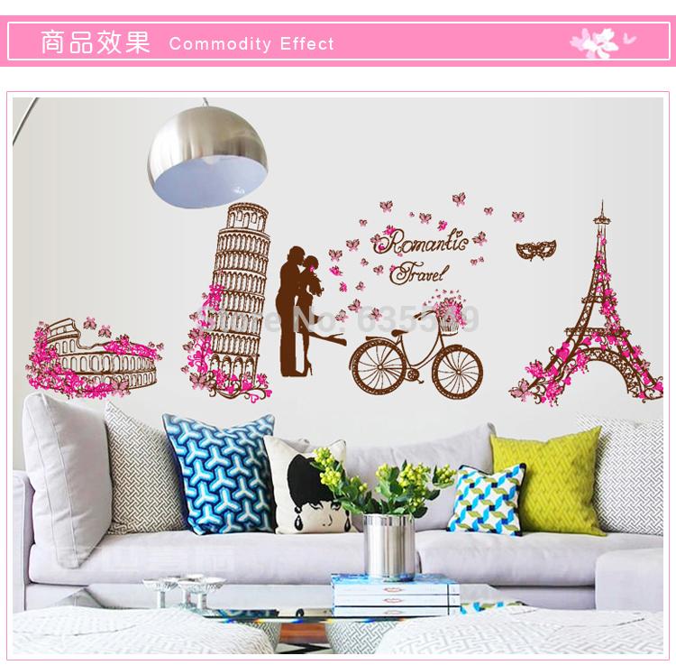 Auguest New Home Decor adesivos de parede flores rosa com Paris Romatic Prédios da cidade Torre Eiffel / Torre Inclinada para sala(China (Mainland))