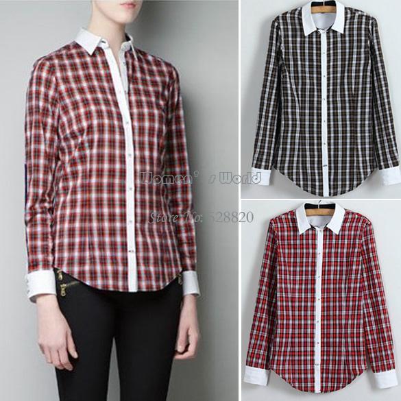 novo blusa feminina manga longa xadrez casual de lapela mulheres camisas de algodão roupas 2 b22 13006 cores(China (Mainland))