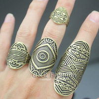 Chic Pack of 4 Vintage Tribal Indian Mayan Calendar Aztec Warrior Band Men Ring Biker Jewelry Free Shipping