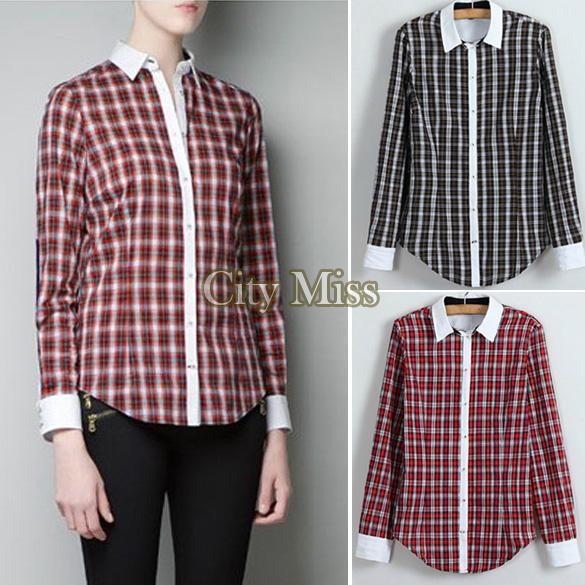 novo em 2014 venda quente mulher manga longa xadrez casual de lapela mulheres camisas de algodão roupas 2 cores b22 13006 tops senhoras(China (Mainland))