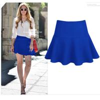 New Fashion Summer Pleated Skirts Women's 2014 Saia Femininas Colorfull High Waist Slim Hip Mini Short Skirt For Girls