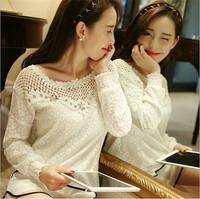 Bestselling lace chiffon blouse femininas blusas feminina camisas renda roupas Hollow Out blouses clothes shirt Tops AY851887