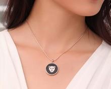 Round diamante leopard pendant rose gold necklace/korean luxury brand womens jewellery wholesale/colar/collier/bijoux/bijouterie
