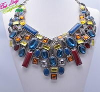 2014 Eoropean New ZA Satement Gem Gomeatry Clain Vintage Luxury Box Mental Neckalce For Women Clain Collar 9177