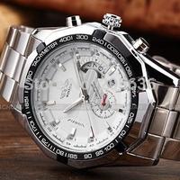 Promotion Fashion Brand Winner Full Steel Automatic Mechanical Watch Men Date Mechanical Wrist Watch Relogio Masculino