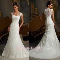 Luxury Sweetheart Cap Sleeve Sexy See Through Back Floor-Length Custom Made New Fashion Bridal Dress Sheath Wedding Dresses