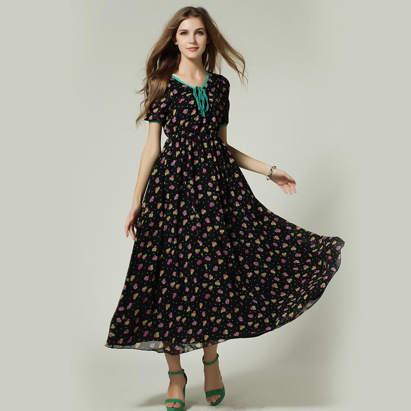 Promotion 2015 Summer Early Fall Fashion Slim Flower Printed Short Sleeve Long Maxi Casual Bohemia Dresses Female Holiday QCD016(China (Mainland))