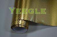 1.52x30M 5x98FT High Quality  gold chrome carbon vinyl wrap Free Shipping