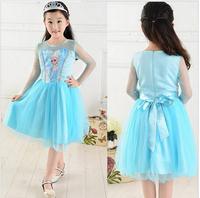 New 2014 High Quality Elsa Frozen Princess Dress Blue Color Girls Summer Dress Hot Sale Tutu Girl Dress 5 Sizes D30