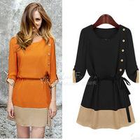 Fashion New 2014 Summer Spring Casual Women Chiffon Dresses Elegant Lady Three Quarter Party Dress Plus Size Women Clothing