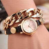 New women vintage leather strap watches rose gold Antique Chain rivet bracelet women dress watch women wristwatch