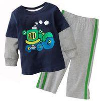 conjunto de roupa, conjuntos kids clothes sets baby boy set, The truck printing shirt .100% cotton 12M - 6Y sizes